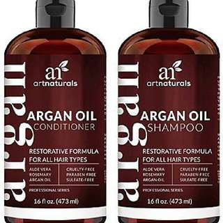 Art Naturals Organic Oil Argan Moroccan Shampoo Conditioner Hair (2 X 16 Oz)