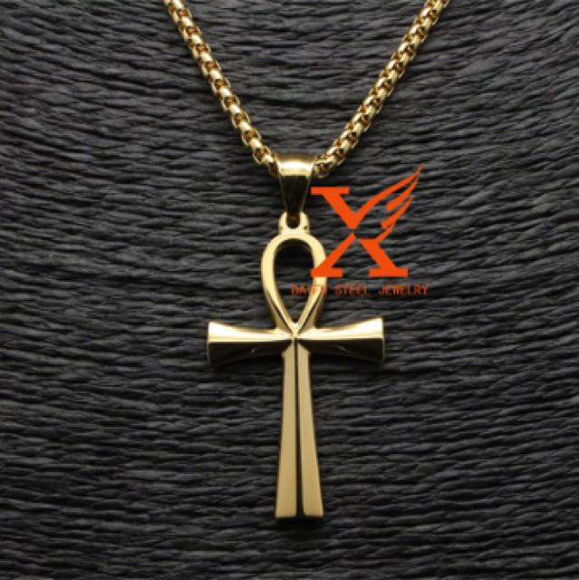 18K gold plated ankh Egyptian pendant necklace