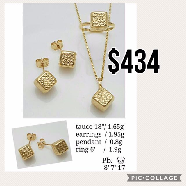 18K Solid Yellow Gold Set