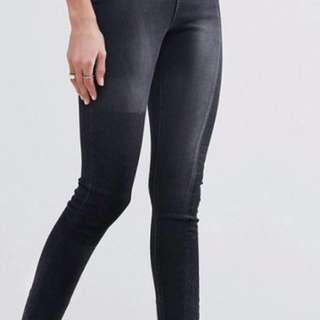 Skinny Black Patched Jeans