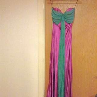 Stunning floor length silk gown in vibrant purple with green chiffon detail