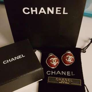 Unwanted New Chanel Earring Classic Iconic Syle CC Red Stud Earrings