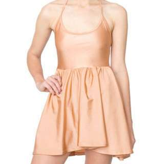 American Apparel Peach/Tan Tricot Skater Dress S