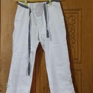 白色7分褲