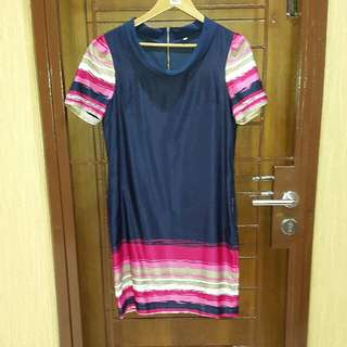 Dress navy stripes pink
