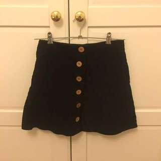 Black Corduroy Skirt - 6/8