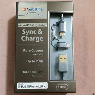 Verbatim MicroUSB + Lightning Pure Copper 1.2m Sync & Charge cable