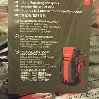 全新 50公升登山/旅行背包