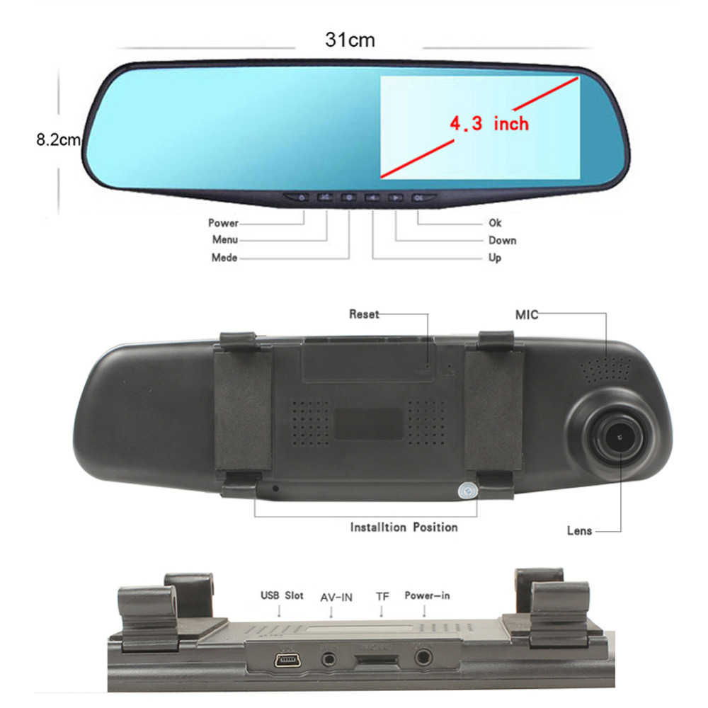 "4.3"" HD 1080P Dual Lens Car Rear view Mirror DVR Camera Dash Cam Recorder, Everything Else, Others on Carousell"