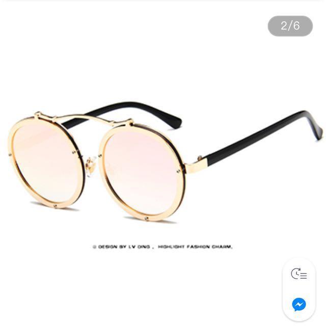 [全新]復古圓框反光墨鏡