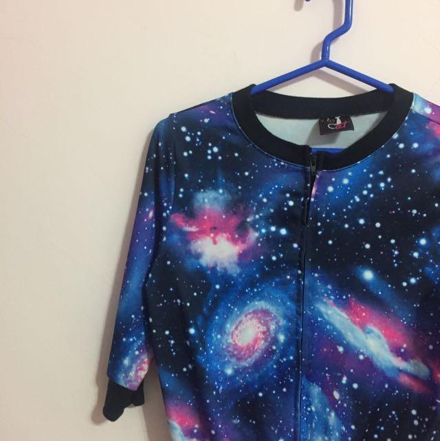 原宿風銀河星空短版七分袖外套