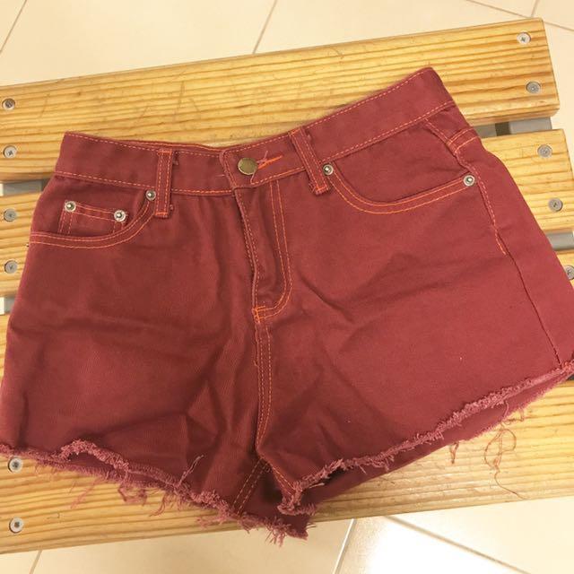 紅色牛仔短褲