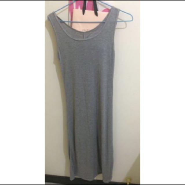 灰色 連身長裙