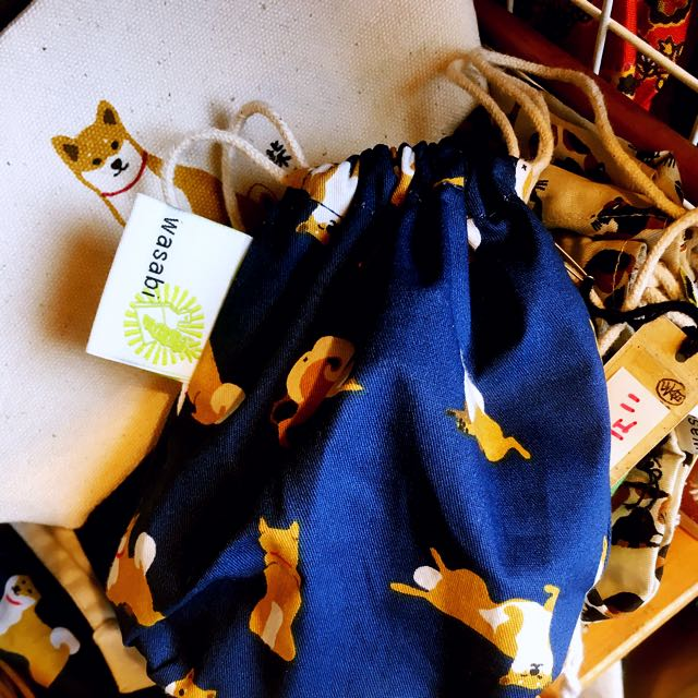 日本選物:: 第二代柴犬麻繩小束口袋收納袋