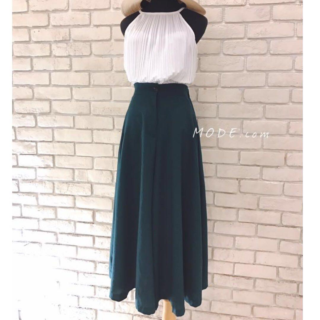 單釦麻料寬褲裙 後鬆緊 綠