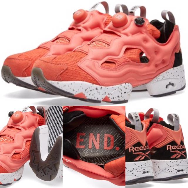 bc8a975b 美國代購End Clothing (END.) X REEBOK INSTA PUMP FURY OG 'PINK SALMON'  Rosette/Black/White US5,6,7-12, Men's Fashion, Men's Footwear on Carousell