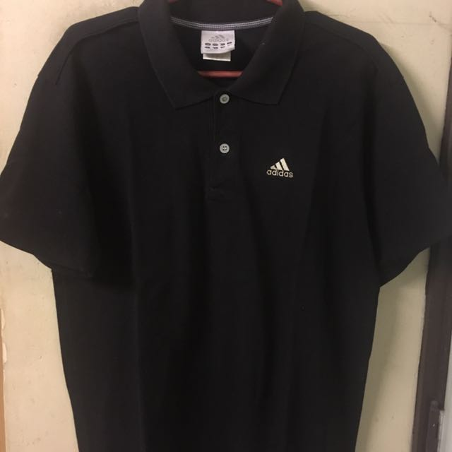 Adidas black pique polo shirt with free tshirt