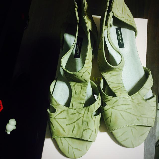 🇫🇷法國amiliana 真皮木紋跟涼鞋👡