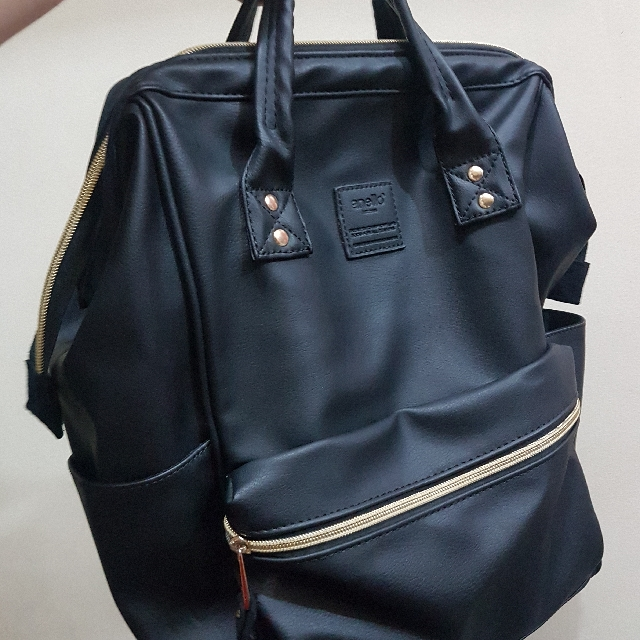 Anello Black Leather Backpack (AUTHENTIC 1155f7a418a6b