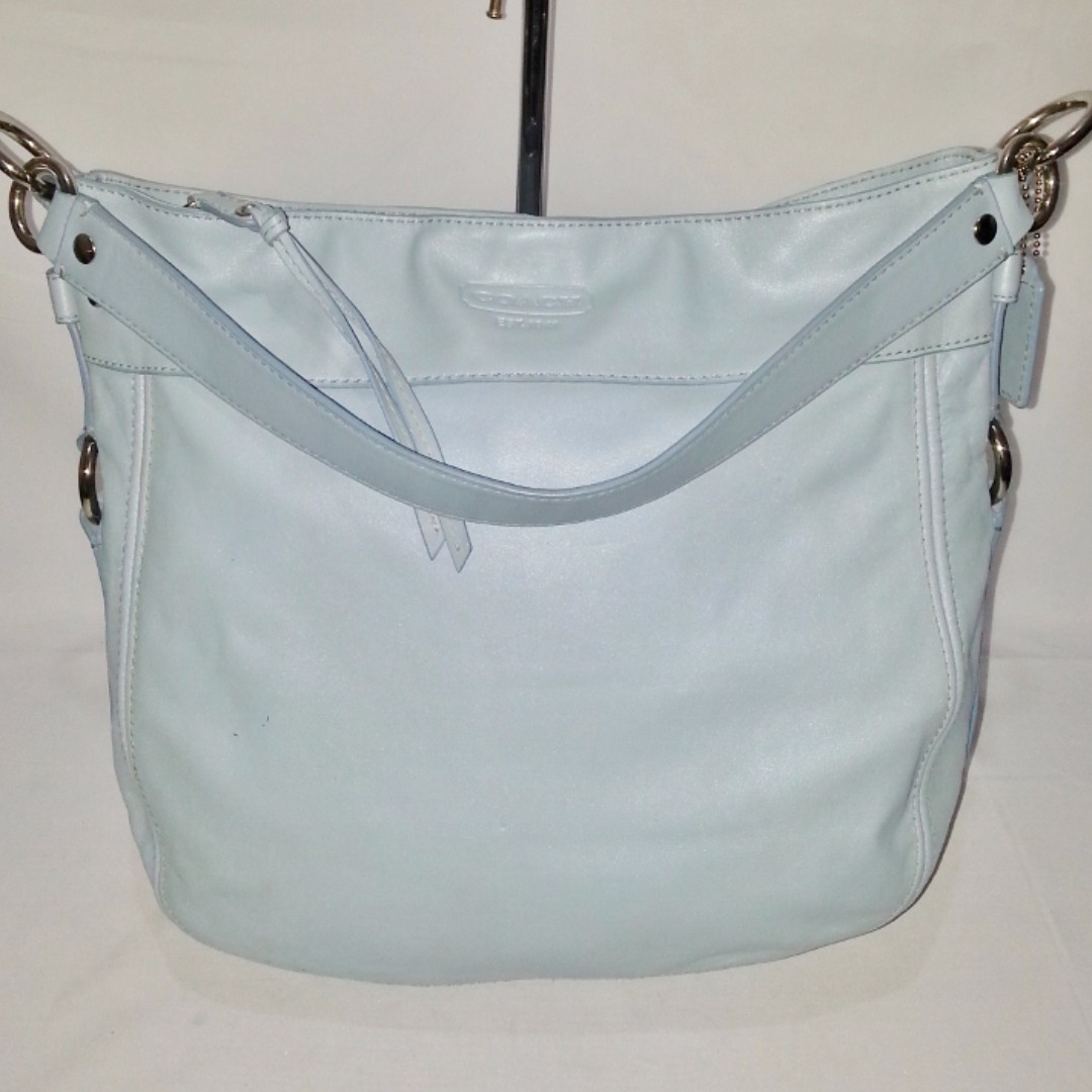 Authentic COACH Powder Blue Leather Hobo Bag