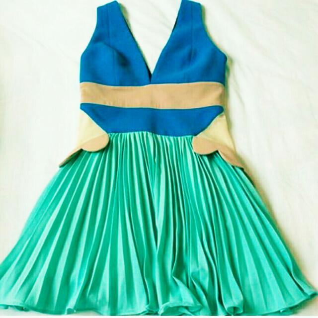 Authentic Three Floor Pale Aqua, Light Blue, Nude Pleated Dress