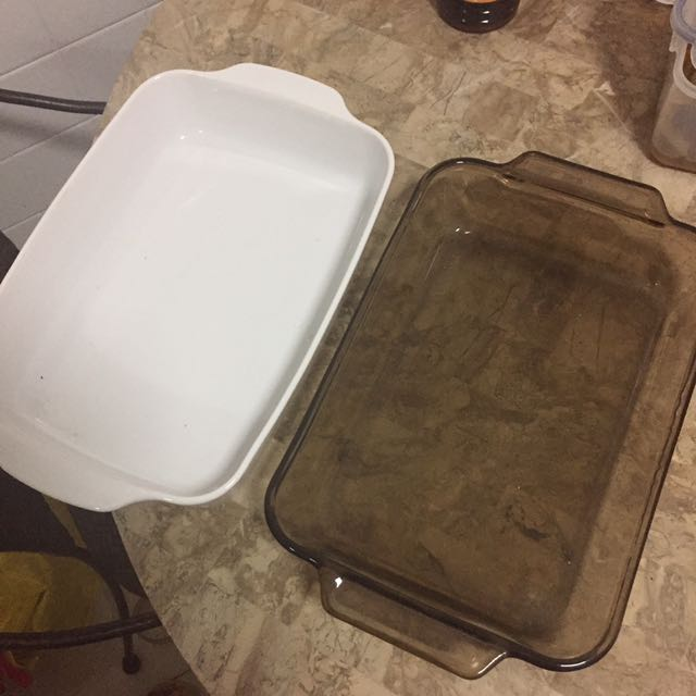 Baking Dish (2 pcs - white and clear)