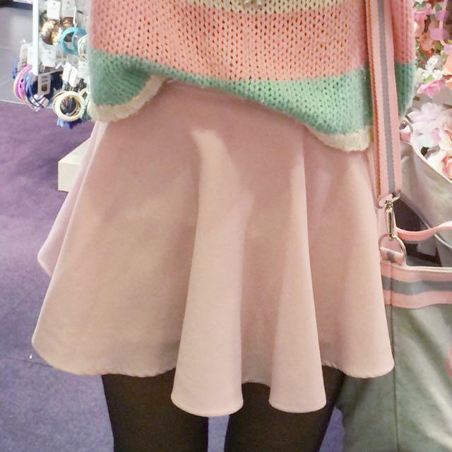 Banded-Waist A-Line Skirt - Pink
