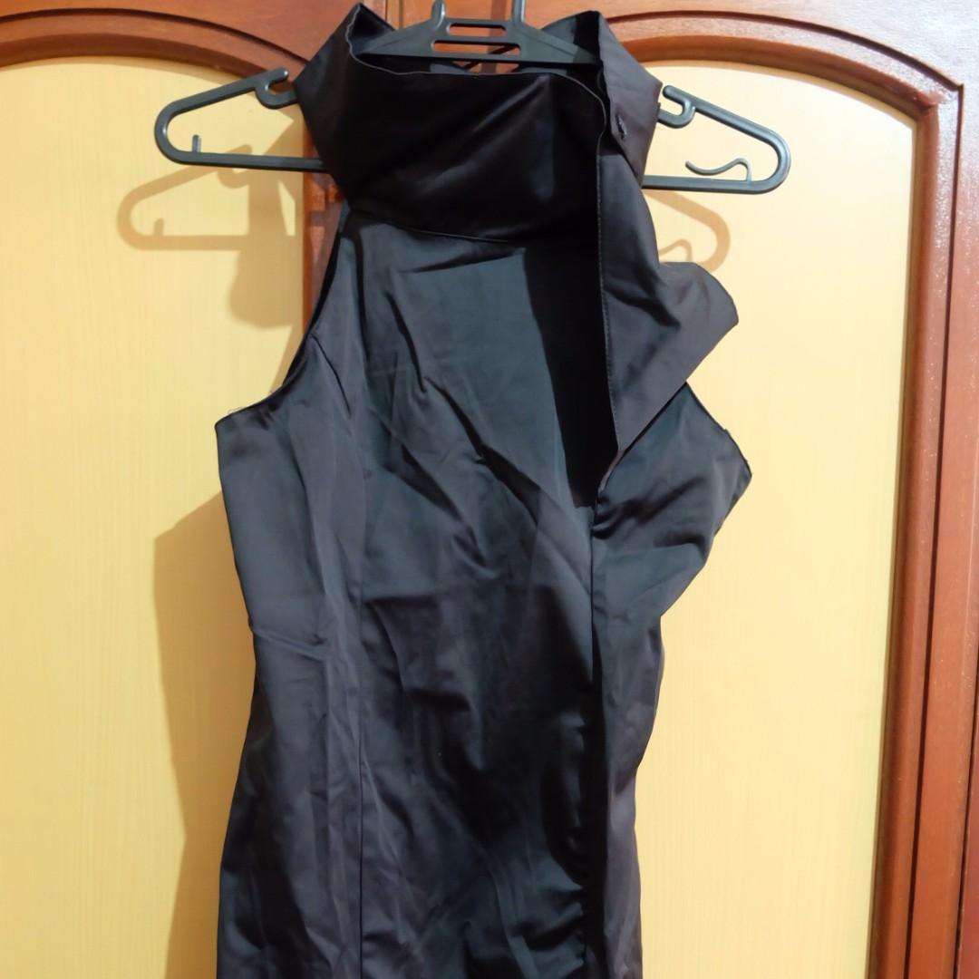 Black Satin High Neckline Formal Evening Dress