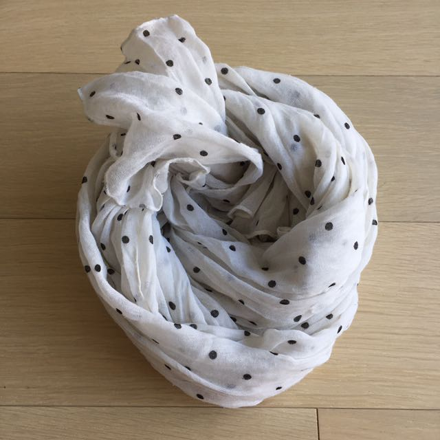 Black white polka dot cotton scarf