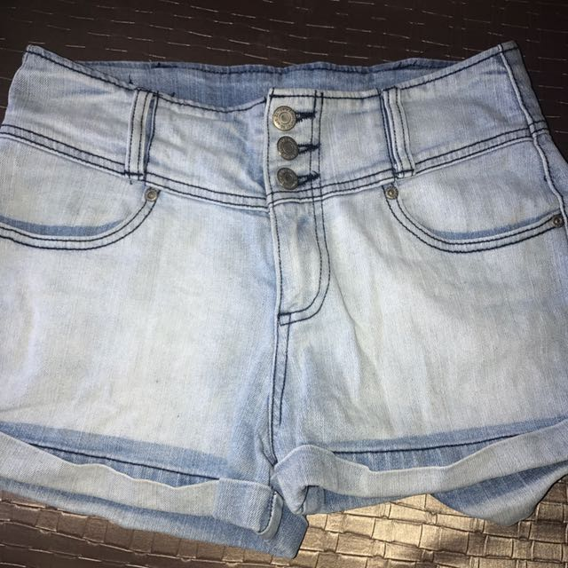 Blue light washed denim jean shorts high waist three button pockets cheap