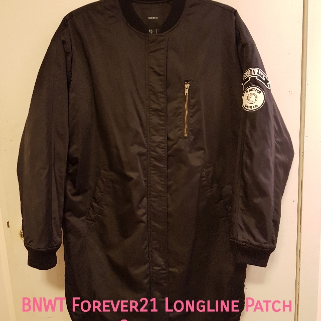 BNWT F21 Longline Patch jacket size small fits oversized