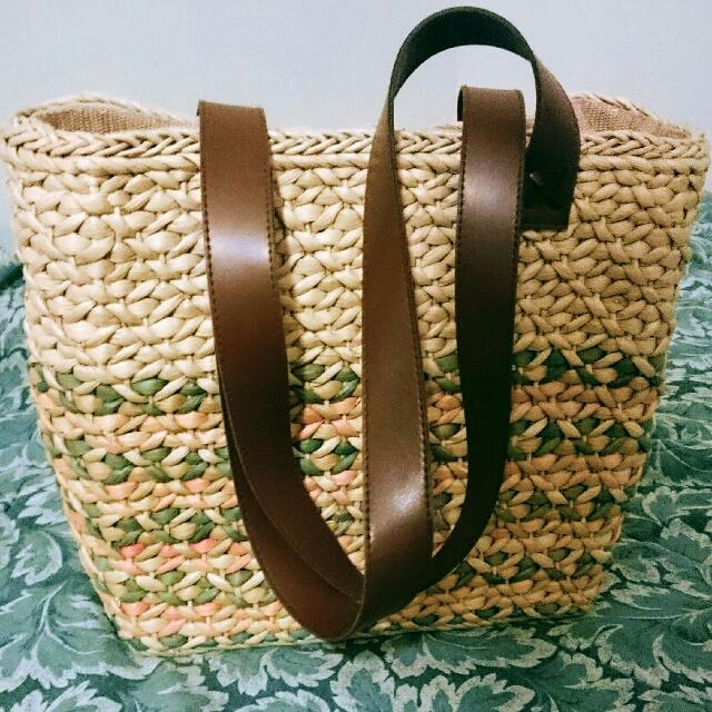 Brown & Beige Woven Tote Bag