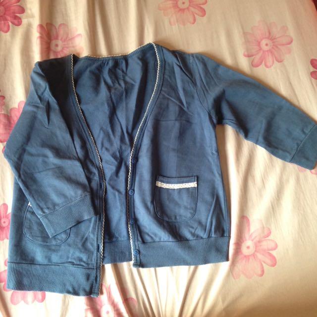 cardigan bahan kaos cotton warna biru size L