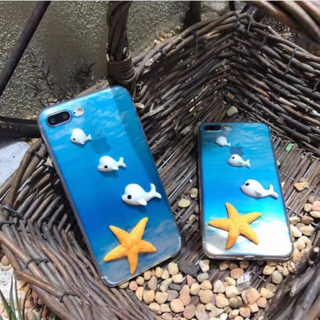 Case iphone 7 casing star blue fish