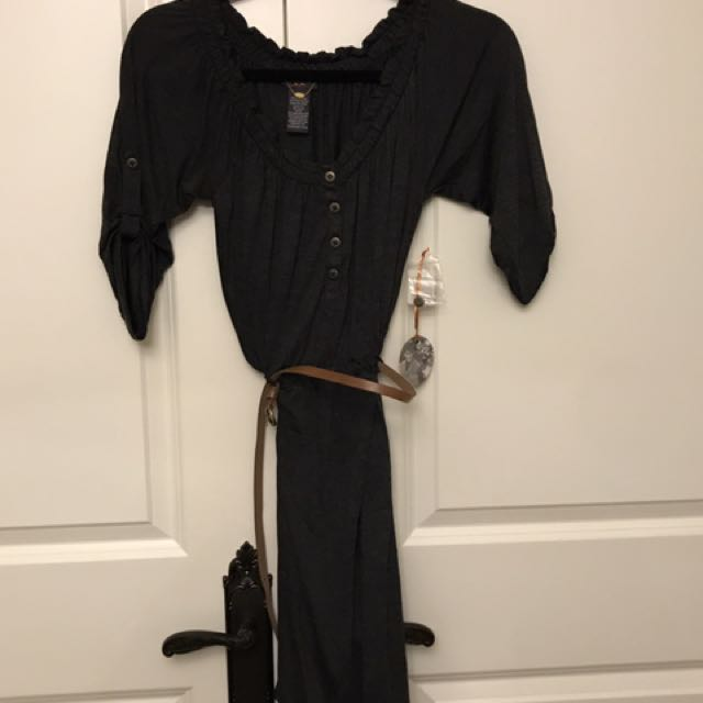 Charcoal Dress with Belt