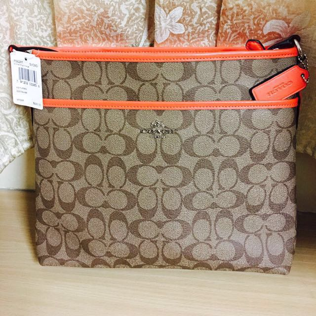 da8160ab134f Coach F58297 Signature File Bag Crossbody Handbag Khaki Bright ...