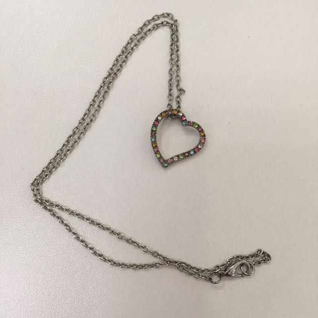 Colored Stone Heart Necklace