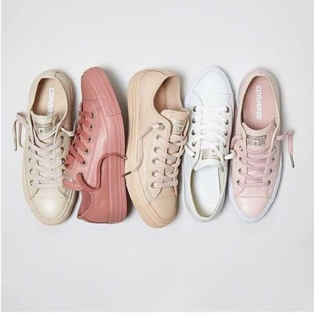 4547d325ab56 Converse Leather Pastel Rose Tan Rose Gold Sneakers