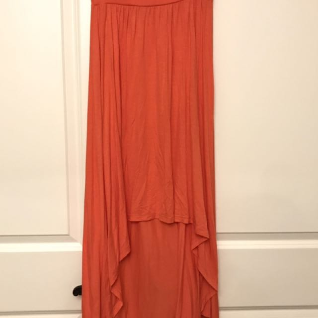 Coral Maxi High Low Skirt