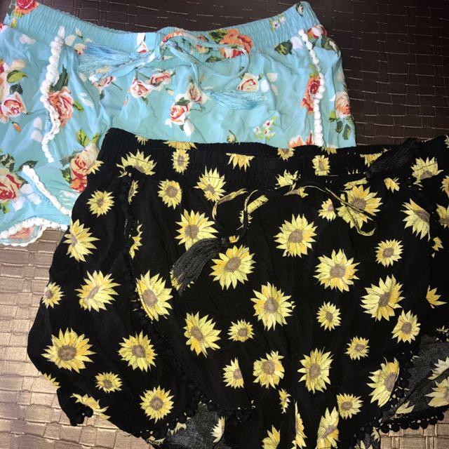 Cotton on summer shorts pattern sun flowers black yellow blue medium small floral cheap