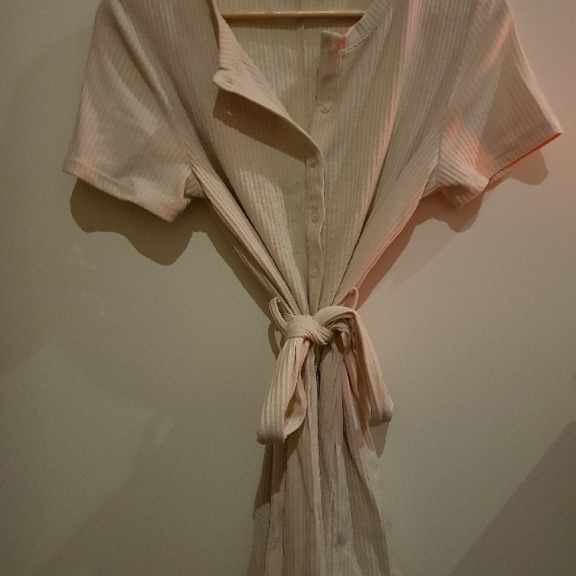 Cotton Ribbed Tie-up Romper