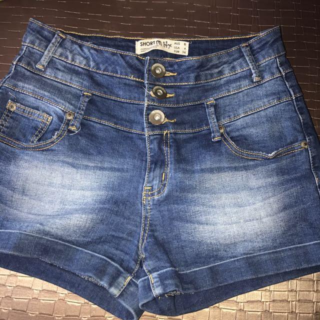 Dark blue denim high waist three button jean shorts size 8 small 10 6 cotton on