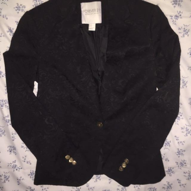 F21 Black satin Blazer w/ Black floral embroidery