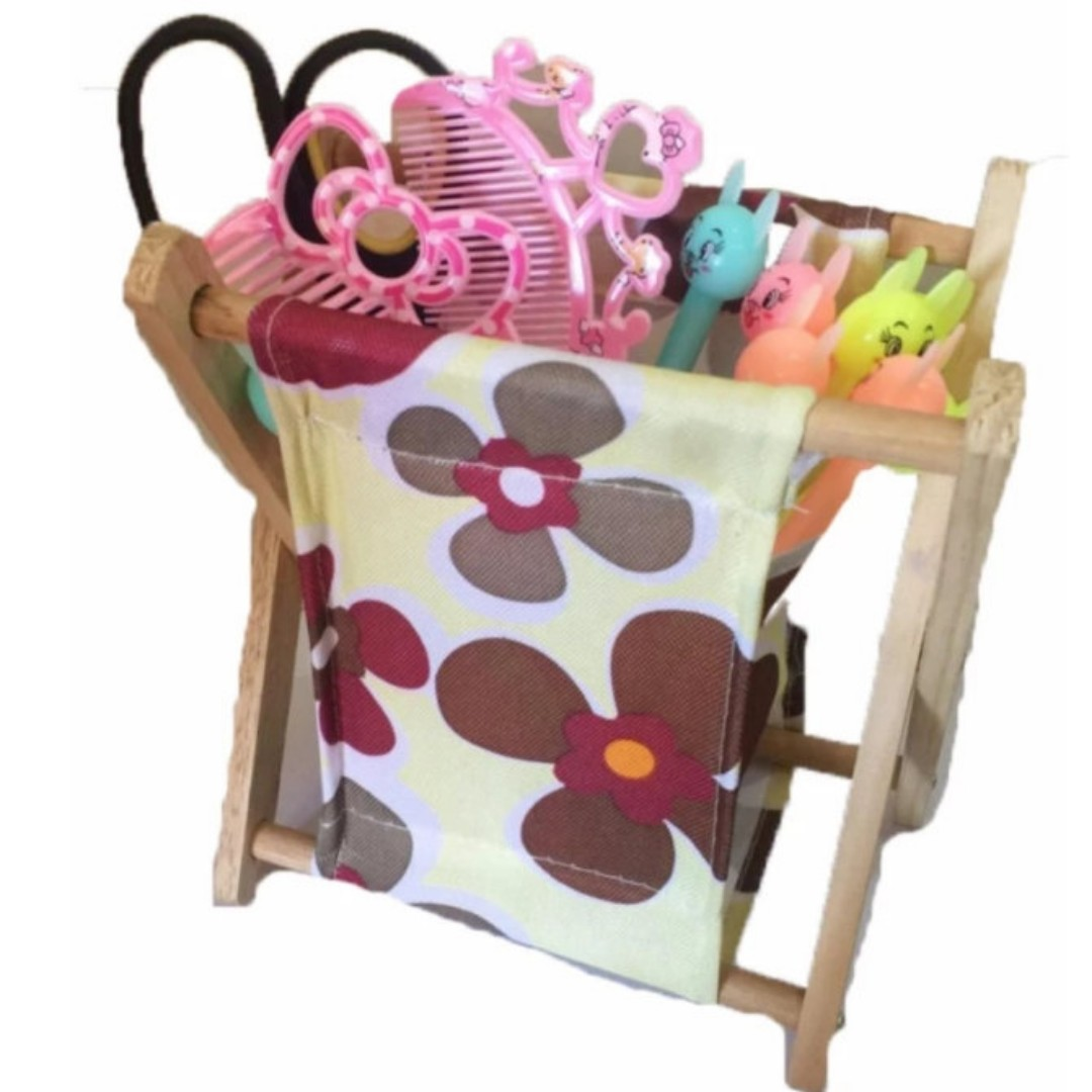 Floral Folding Wood Storage Rack Organizer
