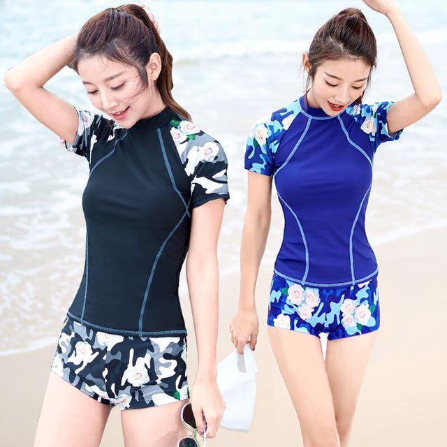 7ce766e345 Floral Short Sleeve 2 Piece Swim Wear Plus Size Available
