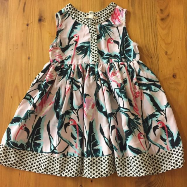 Girls Flamingo Print Dress - Size 12-18 mths