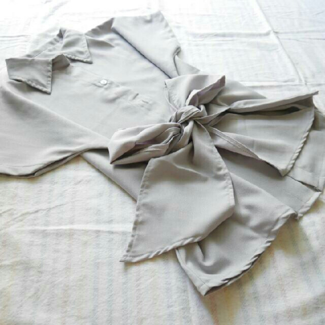 Grey Tied Ribon Shirt