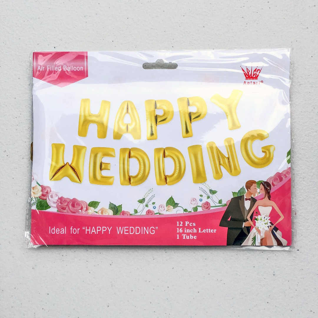 Happy Wedding set balloons (gold/silver)