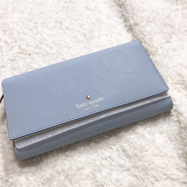 Katespade 淺藍三折皮夾