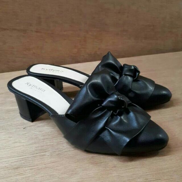 Leather Sandal / Sandal Wanita / Ribbon Slop / Sepatu Murah